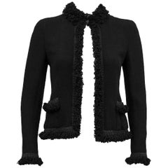 2003 Chanel Black Cardigan with Fringe
