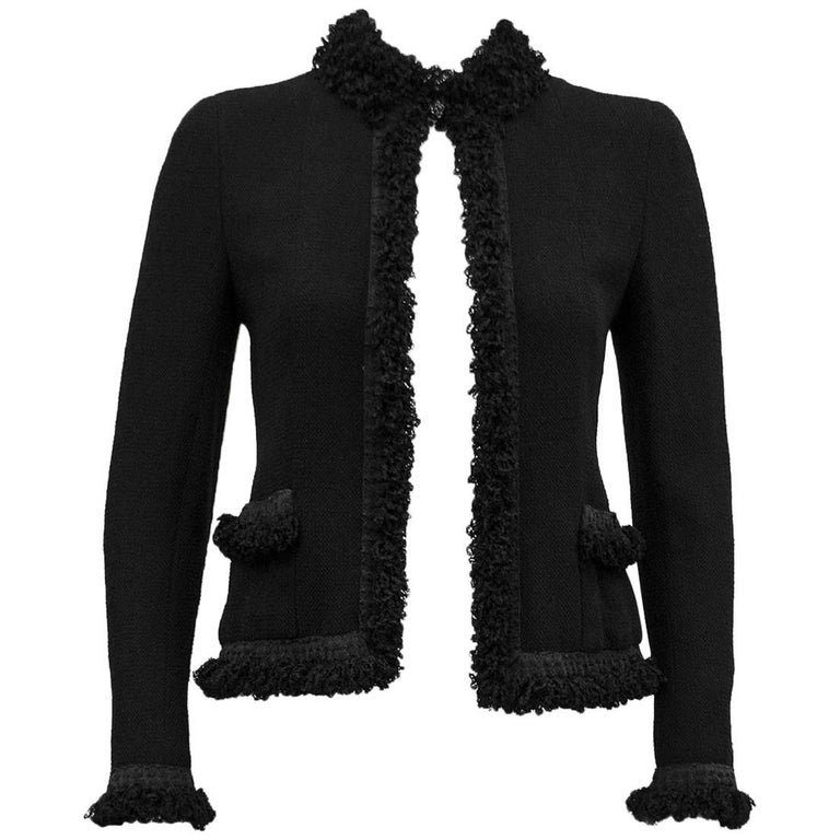 2003 Chanel Black Cardigan with Fringe