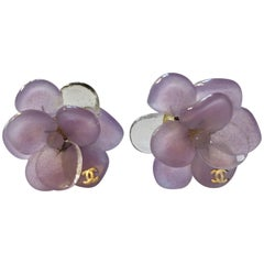 Chanel Purple Camellia GripoixEarrings