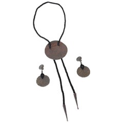 1980s Yves Saint Laurent Hammered Bronze Bolo Tie w Matching Disk Earrings