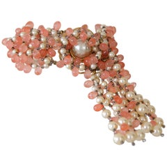 "1960s Marvella ""Salmon Roe"" and Faux Pearl Beaded Bracelet w Fringe Clasp"