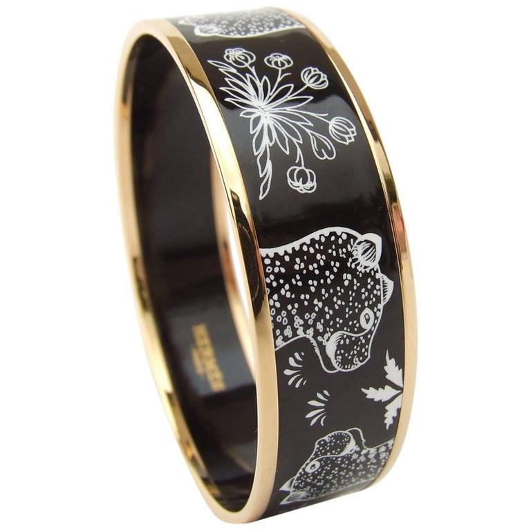 Hermes Enamel Printed Bracelet Leopards Black White Rose Gold Hdw Size 65 1