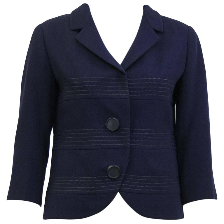 1960s Christian Dior Original Navy Wool Cropped Jacket