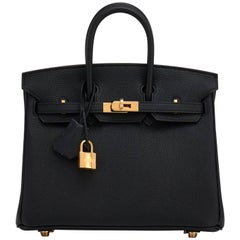 Hermes Black Baby Birkin 25cm Togo Gold Hardware Jewel A Stamp