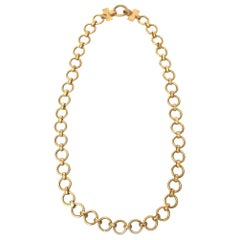 Yves Saint Laurent Vintage Brass Chain Link Long Necklace