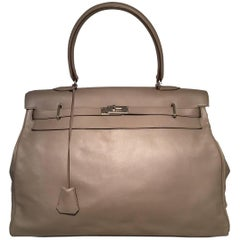 RARE Hermes Grey Chevre 50cm XXL Travel Kelly Bag