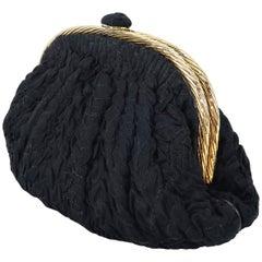 1990's Frances Patiky Stein Black Silk & Leather Evening Handbag