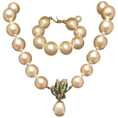 Chanel Pearl and Enamel Necklace and Bracelet Set with Presentation Box