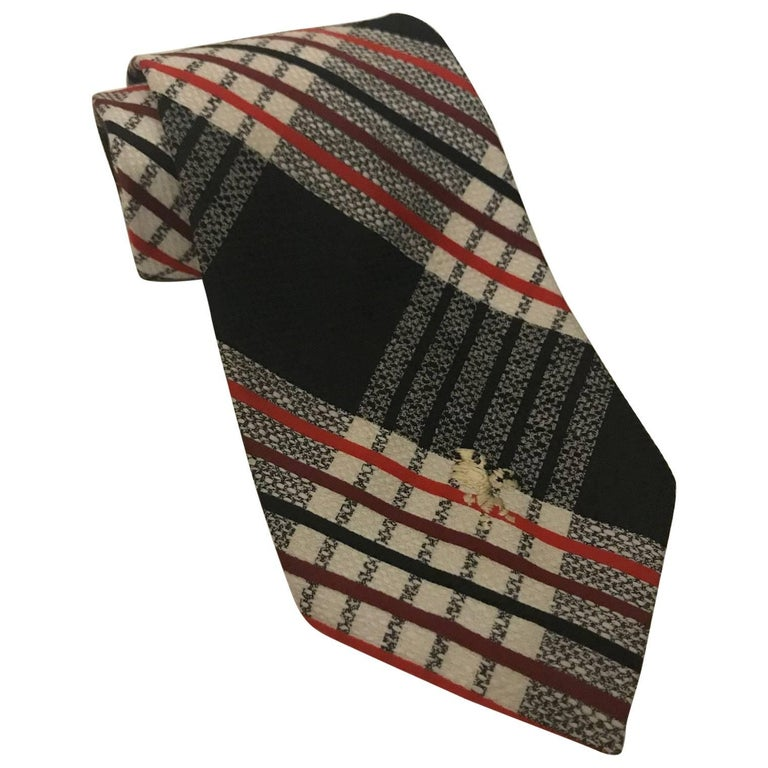 Schiaparelli Red Black and White Checked Wide Tie, 1960s  For Sale