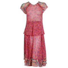 1976 Ossie Clark for Radley Pink Celia Birtwell Print Crepe Flutter Dress Set