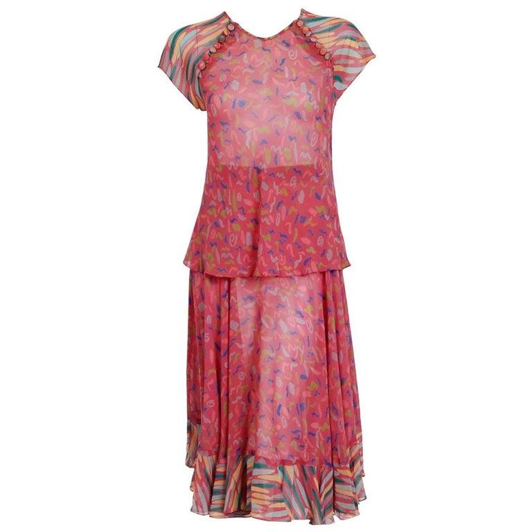 1976 Ossie Clark for Radley Pink Celia Birtwell Print Crepe Flutter Dress Set