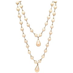 RARE Chanel Vintage Double Strand Pearl and Crystal Teardrop Necklace