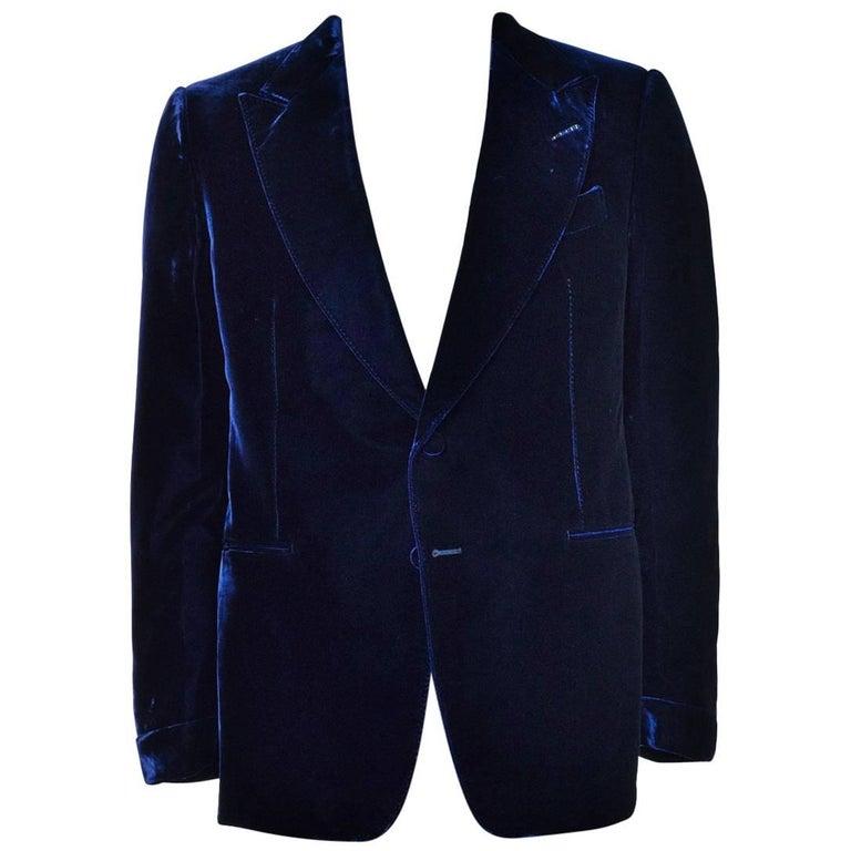 Tom Ford Navy Shelton Slim Fit Velvet Tuxedo Jacket For Sale