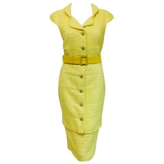 Colorful Chanel Yellow Sleeveless Dress with Seven Front Buttons at Closure.