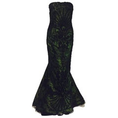 Outrageously Dramatic Oscar de la Renta's Luscious Deep Green & Black Gown