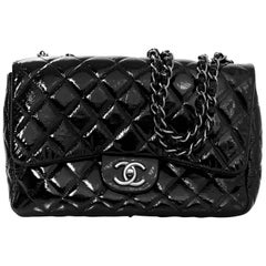 Chanel Black Patent Leather Quilted Classic Jumbo Flap Bag