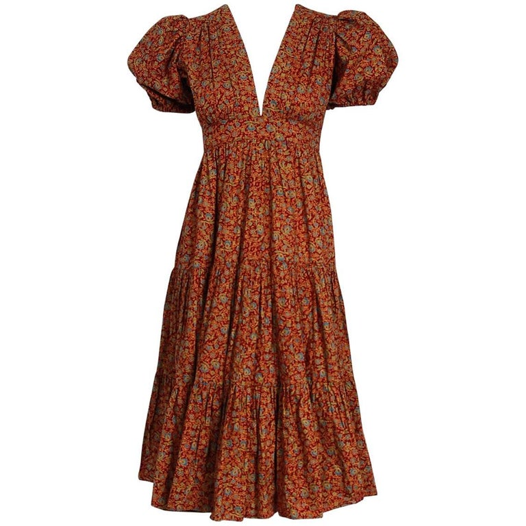 1975 Ossie Clark Burgundy Floral Print Cotton Empire Plunge Puff-Sleeve Dress
