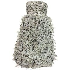 Outstanding Oscar de la Renta Black/wh  Pleated Strapless Bodice w Ruffled Skirt