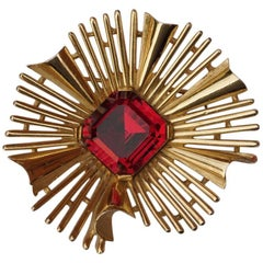 Trifari Gold Tone Red Glass Starburst Brooch