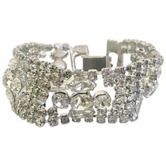 Art Deco Silver & Austrian Crystal Rhinestone Link Bracelet
