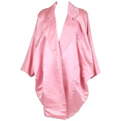 Bill Blass Pink Silk Satin Oversized Cocoon Coat