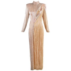 Bob Mackie Champagne Silk Gold & Silver Beaded Long Sleeved Evening Gown