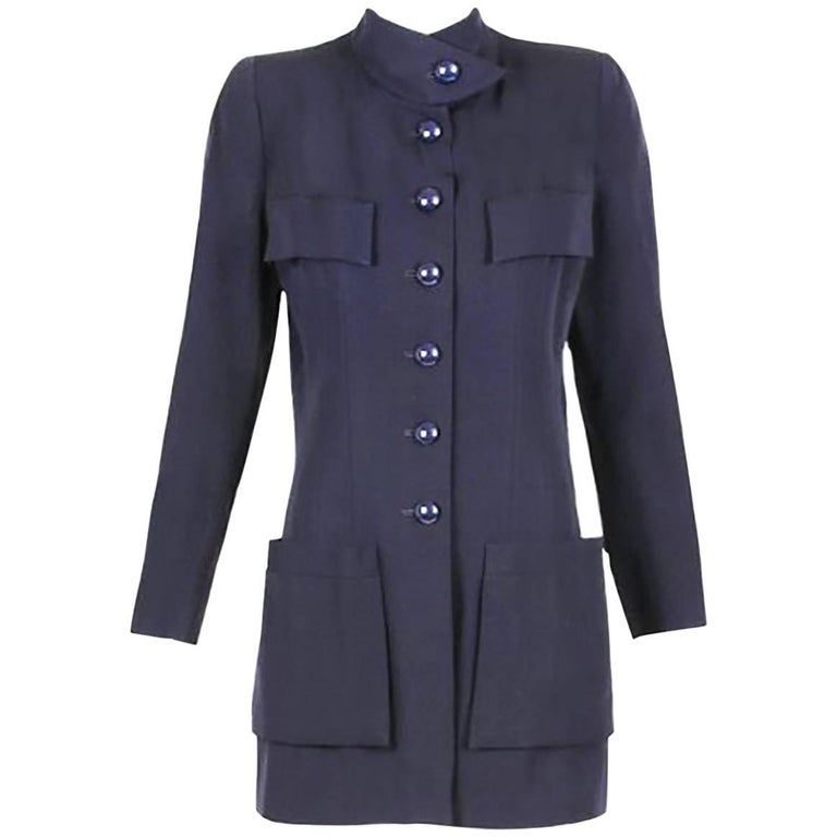 Chanel Haute Couture Navy Blue Wool Jacket and Skirt Ensemble No. 68181 For Sale