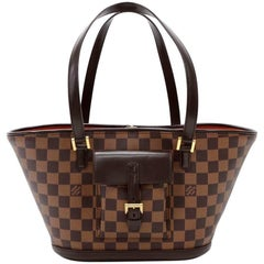 Louis Vuitton Manosque PM Ebene Damier Canvas Tote Hand Bag