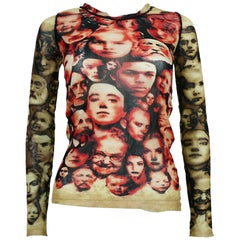 Jean Paul Gaultier Maille Femme Vintage Iconic Faces Print Mesh Top Size L