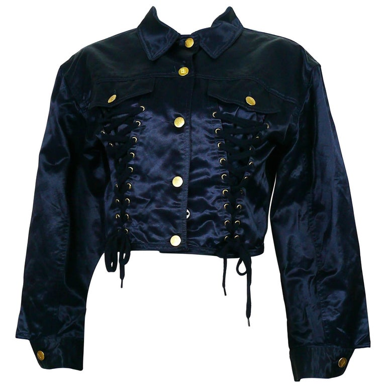 Jean Paul Gaultier Junior Vintage Navy Blue Iconic Corset Style Jacket