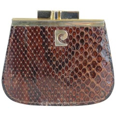 1970s Pierre Cardin Brown Logo Embellished Snakeskin Pattern Coin Purse Wallet
