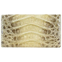 1960s Beige Alligator Print Leather Clutch Wallet (Matching Purse Available)