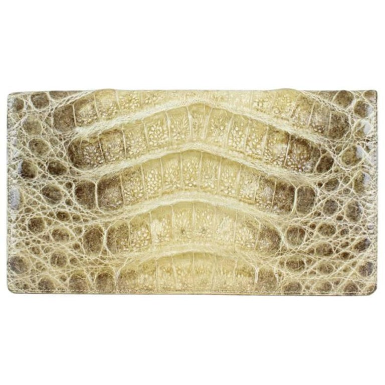 1960s Shades Of Beige Alligator Print Leather Wallet (Matching Purse Available)