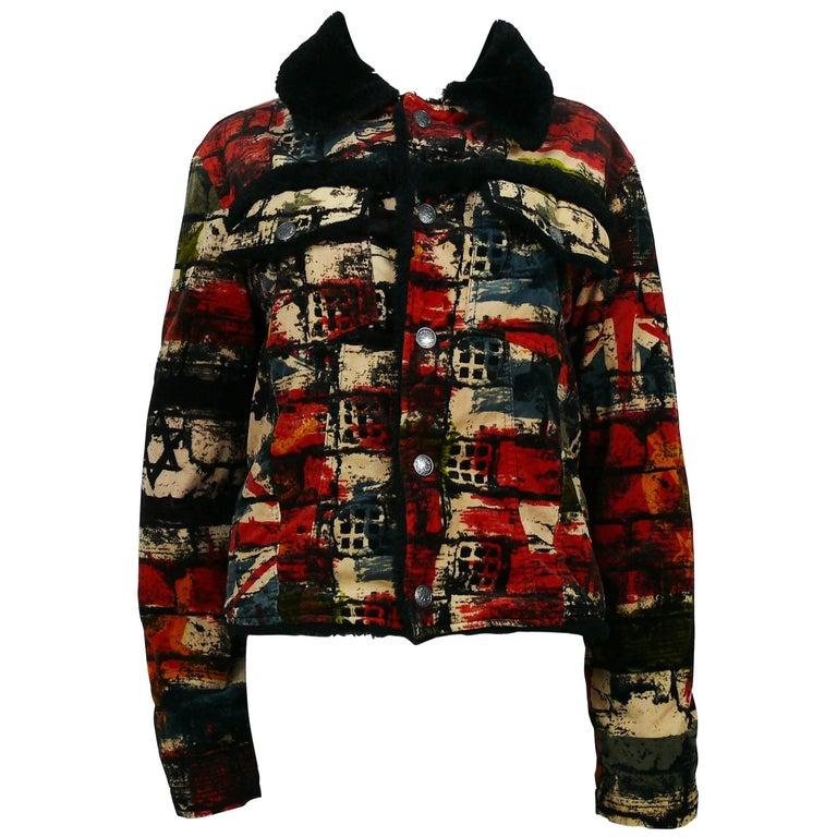 Jean Paul Gaultier Vintage Wall and Flags Print Jacket For Sale