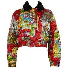 Moschino Jeans Vintage Iconic Slotter Casino Game Bomber Jacket US Size 6