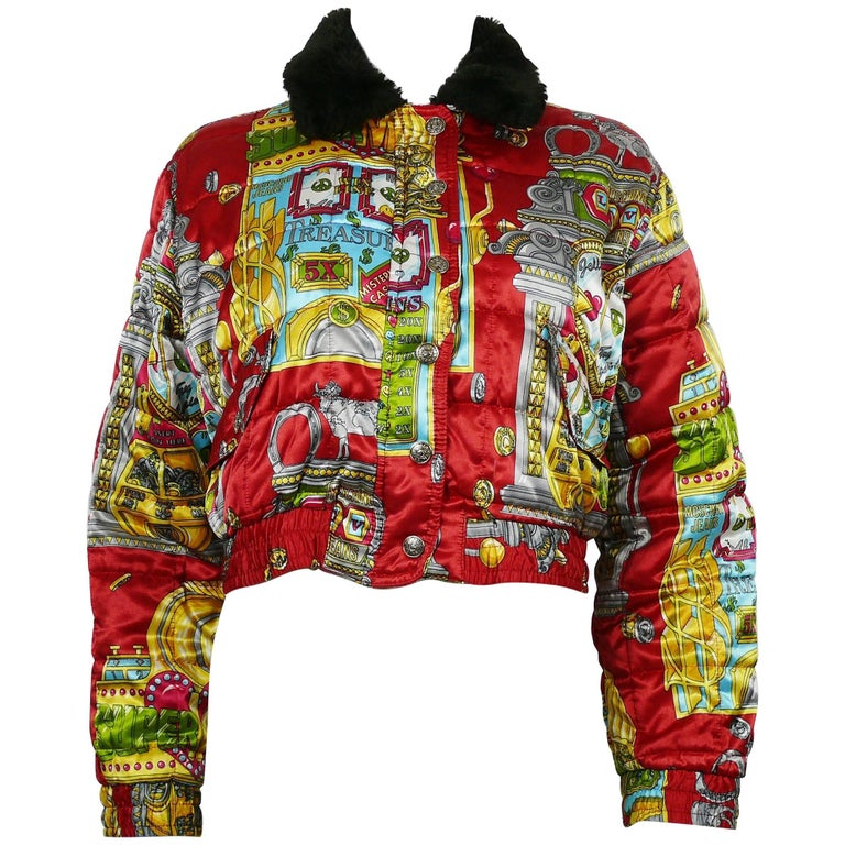 8ffbd7dac1 Moschino Jeans Vintage Iconic Slotter Casino Game Bomber Jacket US Size 6  For Sale