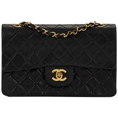 1990s Chanel Black Quilted Lambskin Small Classic Double Flap Bag