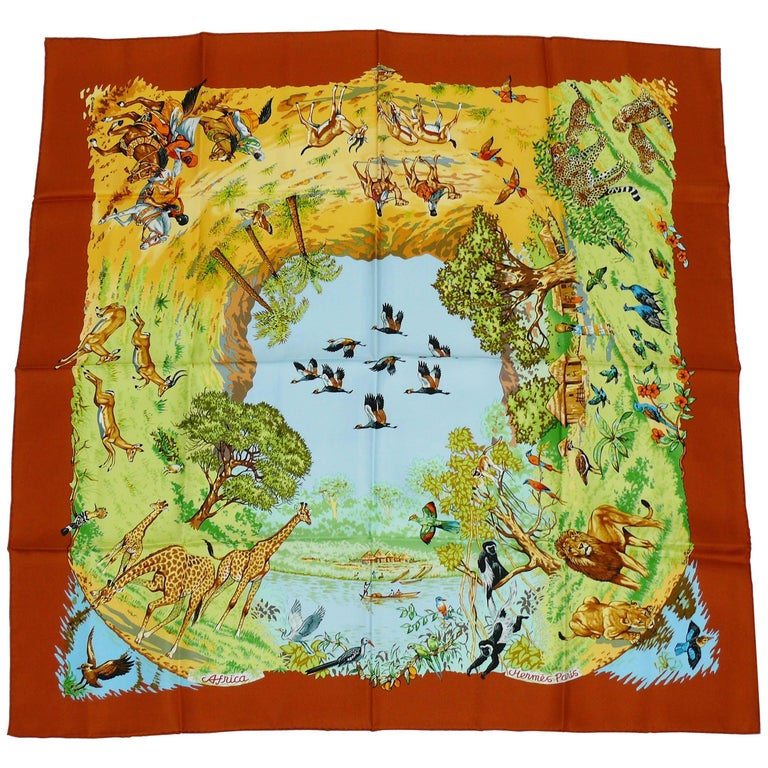 "Hermès Vintage Silk Carre Scarf ""Africa"" by Robert Dallet"