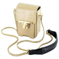 LANVIN Camera Bag in Beige Color Snake Leather