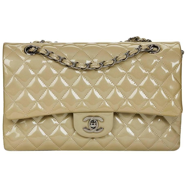 2010's Chanel Pale Olive Quilted Patent Leather Medium Classic Double Flap Bag
