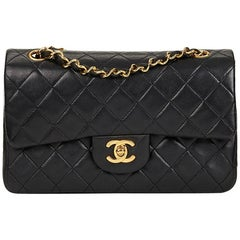 1990's Chanel Black Quilted Lambskin Small Classic Double Flap Bag