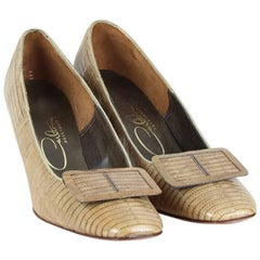 Carlton 1960s Unworn Tan Brown Lizard Leather Pumps With Buckles