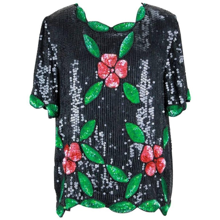 1980s Black Red Green Floral Motif All Over Sequined Top with Scalloped Hem
