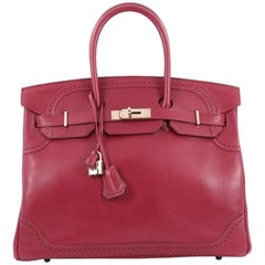 Hermes Rubis Tadelakt with Gold Hardware 35 Birkin Ghillies Handbag