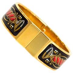 Hermes Black/Red/Gold Vintage Wide Loquet Enamel Clic Clac Bracelet