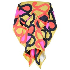 Maggy Rouff Paris 1960s Gold Red Pink Black Serpentine Print Silk Twill Scarf