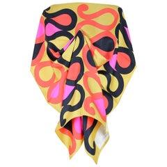 Maggy Rouff Paris 1960s Gold Red Pink Black Serpentine Print Silk Twill Scarf