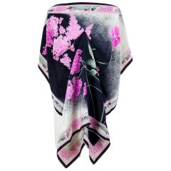 Léonard Paris 1970s Black Lilac Pink Floral Print Silk Scarf (Documented Design)