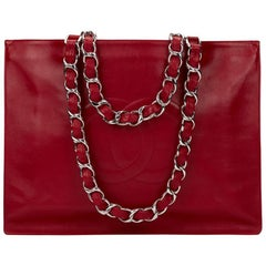 1990s Chanel Red Lambskin Vintage Timeless Shoulder Tote