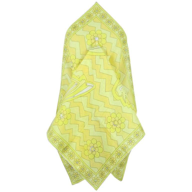 1970s Emilio Pucci Large Vivid Yellow African Design Print Cotton Scarf